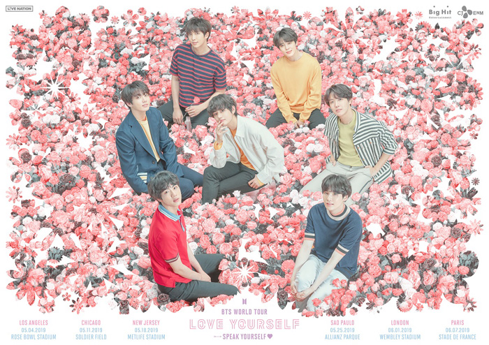 <p> BTS this 5 October in Los Angeles, USA to start a worldwide stadium tour to be held.</p><p>BTS is 20, 0: the official fan cafe and SNS channels, through the 'LOVE YOURSELF SPEAK to YOURSELF' tour of the posters to the public and North and South America and Europe, Japan performances of held. This tour last for 8 December in Seoul Jamsil main stadium to start with, it has continued to 'LOVE YOURSELF' tour of the extension.</p><p>Published according to schedule, the BTS is the United States Los Angeles and Chicago, New Jersey through Brazil, Sao Paulo, London, England, Paris, France,, Japan Osaka and Shizuoka until 8 area 10 times to Confirm.</p><p>BTS is a 5-November 4 in Los Angeles, USA Rose Bowl Stadium(Rose Bowl Stadium), 5 11 Chicago Soldier Field(Soldier Field), 5 18, New Jersey MetLife Stadium(MetLife Stadium), 5 25, São Paulo, Brazil, Allianz Parque(Allianz Parque), 6 December 1 day London, UK Wembley Stadium(Wembley Stadium), 6 7 September Paris, France Stade de France(Stade de France), 7 6~7, Japan Osaka, Yanmar Stadium Nagai(Yanmar Stadium Nagai), 7 October 13~14, Shizuoka Stadium Echo(Shizuoka Stadium Ecopa)held a concert.</p><p>In particular, BTS is on this tour all performances at the Stadium unfolded. Last year, November 10, Korean singers first New York City with the United States in the stadium were BTS 'LOVE YOURSELF SPEAK to YOURSELF' tour through the entire world in the stadium tour is available for groups with a new record set.</p><p>BTS is the last to 8 December in Seoul Jamsil main stadium opened in 'LOVE YOURSELF' tour, starting with the United States, Canada, United Kingdom, Netherlands, Germany, France, Japan, Taiwan, Singapore, Hong Kong, Thailand and other 20 regions in 42 performances to sold-out and performances unfold.</p>