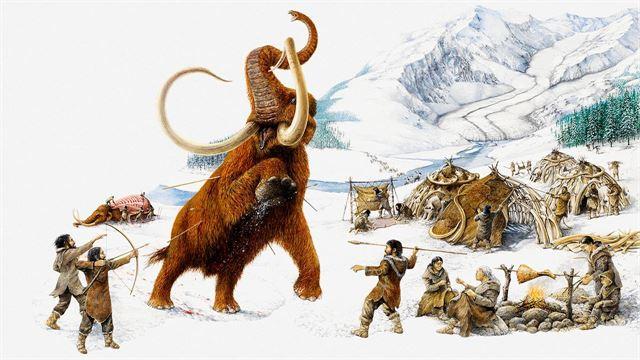 눈 덮인 극지방에서 호모 사피엔스가 매머드를 사냥하는 모습을 그린 상상도. 사이언스 제공
