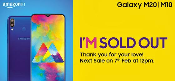 지난 5일 삼성전자가 인도 아마존에서만 독점 판매한 10만원대 스마트폰 갤럭시M이 출시 5분 만에 매진되자 삼성전자 트위터에 올라온 안내문. /삼성전자
