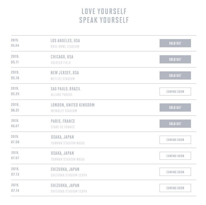 <p>(Seoul=) group BTS this world as a World Stadium Tour 5 Matsudo performances {code:200,lang:EN-en,text:[was. United Kingdom London at Wembley Stadium, 90 minutes tickets are sold out for the explosive fire power and additional performances.</p><p>2 days BTS official homepage the 1st(local time) in the U.S. and Europe booking to finishing the stadium, performing Love the self: Speke the self 5 Matsudo performances of the sold-to inform the brush out(SOLD OUT) Bulletin floated.</p><p>This day sold out performances 5 November 4 Los Angeles, USA Rose Bowl stadium, 5 11, Chicago Soldier Field, 5 18, New Jersey MetLife Stadium, 6 March 1, United Kingdom London Wembley Stadium, June 6, 7, Paris, France, Stade de France performances. The photos are BTS stadium tour sold out. 2019. 3. 2</p>