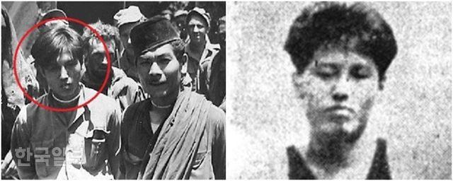 네덜란드군에 체포될 당시의 양칠성(왼쪽 사진 중 동그라미 안). 오른쪽 사진은 일본인 동료들과 찍은 사진 중에서 양칠성의 얼굴을 확대한 것이다.
