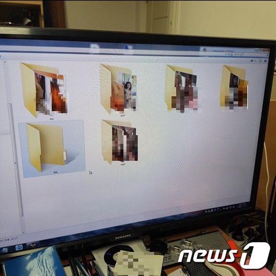 사립고 모 교사의 업무용 PC에 저장된 각종 포르노 영상과 사진이 든 폴더.(독자제공)© 뉴스1