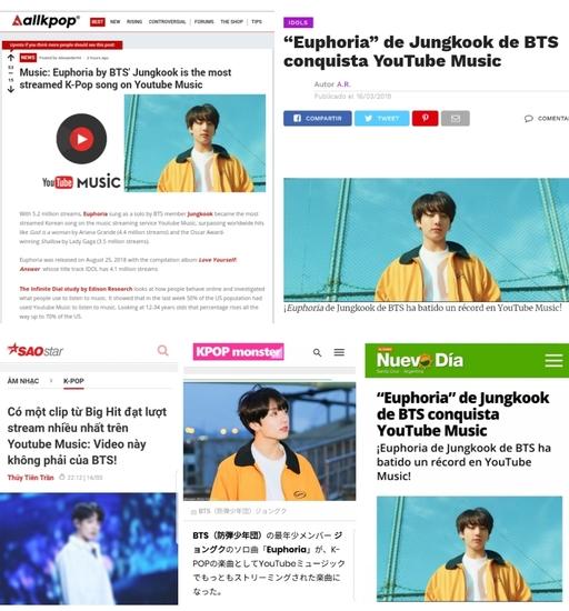 방탄소년단 정국 솔로곡 '유포리아' 보도한 해외매체들 모음