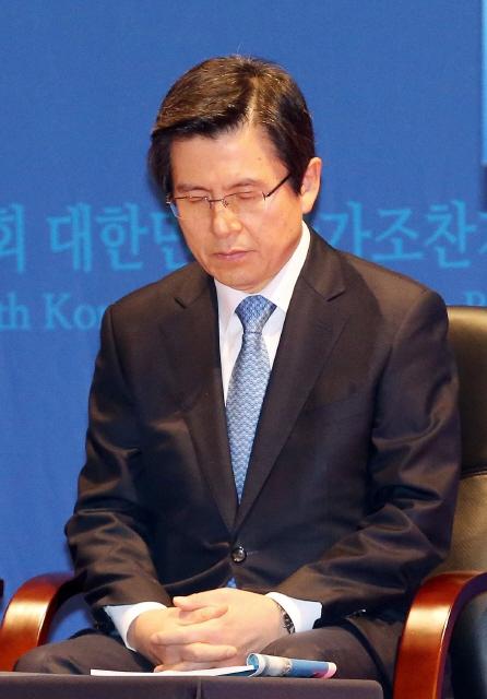 지난 2017년 3월2일 오전 황교안 당시 대통령 권한대행이 서울 코엑스에서 열린 국가조찬기도회에서 기도를 하고 있다. 김경호 기자 jijae@hani.co.kr