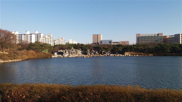 일산호수공원에 있는 섬유강화플라스틱(FRP)으로 만든 인공폭포 및 인조암 전경.