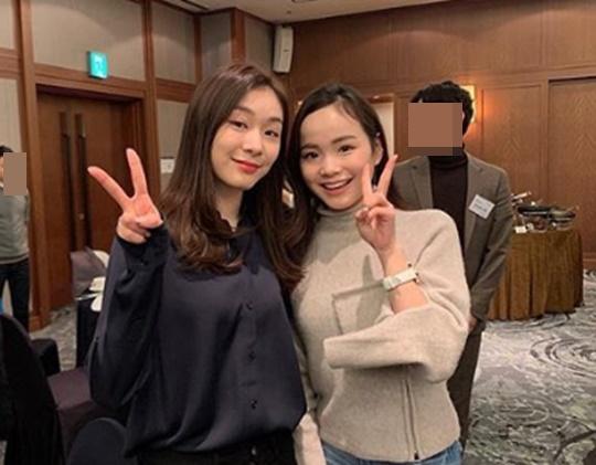 임은수가 지난 1월 인스타그램에 올린 올댓스포츠 신년회 사진. 올댓스포츠는 김연아와 그의 어머니가 세운 스포츠 매니지먼트 회사다.