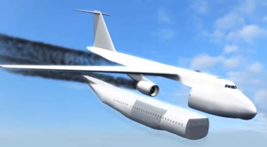 탈부착식 캡슐 비행기가 비상시 승객석을 분리하는 모습. [사진=유튜브 화면캡처]