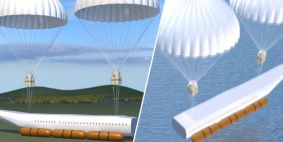 기체에서 분리된 탈부착식 캡슐 비행기의 승객칸이 낙하산으로 무사히 착륙하는 모습. [사진=유튜브 화면캡처]