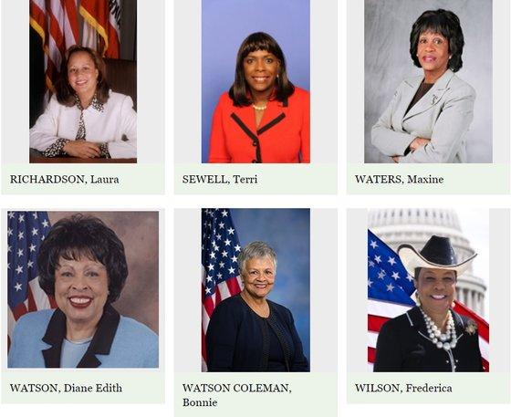 과거 미국 흑인 여성 정치인들의 모습. 아프로헤어나 레게머리를 한 의원을 찾아보기 어렵다. [사진 하원 역사 아카이브]