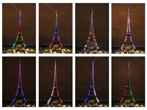 (파리 EPA=연합뉴스) 2009년 10월 에펠탑 건립 120주년 기념사업의 하나로 형형색색의 조명으로 빛 쇼를 선보이는 에펠탑