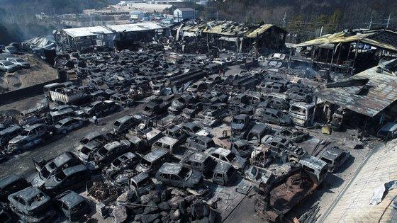강원도 고성과 속초 일대 산불 이틀째인 5일 오전 속초시의 한 폐차장에 주차됐던 차량들이 처참하게 불에 타 있다. [연합뉴스]