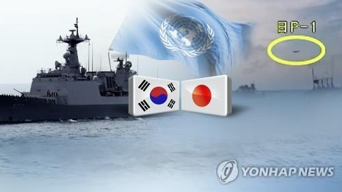 한일 초계기 위협비행·레이더 갈등(CG) [연합뉴스TV 제공]