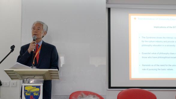 와이즈유 부구욱 총장이 말레이시아에서 열린 '2019 HEPA포럼'에서 발표를 하고 있다./사진제공=와이즈유