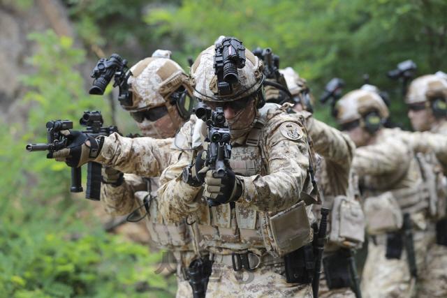 조준경과 도트사이트, 수직손잡이가 부착된 개량형  K1A 소총으로 무장한 아크부대원들이 훈련 중인 모습. 군은 이 같은 부분 개량 총기로는 특수작전을 펼치기에 한계가 있다는 판단 아래 신형 기관단총 도입을 추진 중이다. 차기 기관단총 사업은 일반 보병용 차기 소총 대량 수주로 연결될 가능성이 높아 국내외 메이커들의 비상한 관심 속에 진행되고 있다.