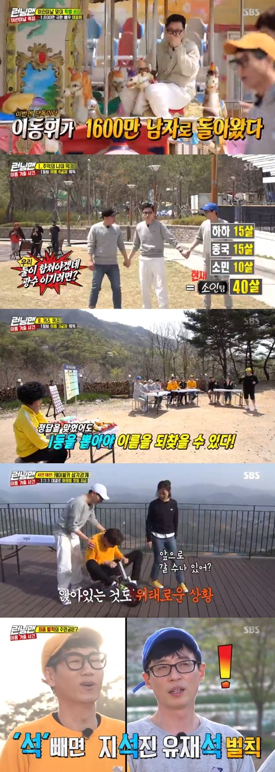 <p> Running Man, Kim Jong-kook, min team won the championship.</p><p>5 days broadcast SBS Running Manin the childrens day special, decorated in the name runaway incident race unfolded.</p><p>This day, the members of Yi Dong-hwi, one of the most exclusive guestand was delighted. Yoo Jae-Suk is how long before the extreme job done together did so single-handedly come to knowand half is exposed, and Yi Dong-hwi, glory.</p><p>Yi Dong-hwi is opening with the film Children ofintroduced. Yoo Jae-Suk is the tone because it is said to dry conditions, which seems to be,he said to laughter, I found myself. This is a if you dont want dont,he said. Yi Dong-hwi is a little more effort in, I try totone by raising the re-introduction began, but the members are dedicated to not seem. Hard the tea inside. Minus the quality.said around.</p><p>This day in the members name runaway incident race unfolded. Childrens name to commemorate childrens day in the members name disappeared, and the three teams divided into team members the name of the first found wins. Or name you dont see people power penalty.</p><p>First The Mission I will eat The Gamein the light of as a darn team(Lee Kwang-Soo, Song JI Hyo, JI Suk Jin)won the championship. In this song, the, ads, letters acquired.</p><p>The second The Mission key quizfrom Song JI Hyo is 1 such as the paper pulled The Game ends. The GNOME team is effective, this, letter was obtained, and Lee Kwang-Soo and Song JI Hyo to find the name.</p><p>Last The Mission is as much as you need to find out the name of the jump jump bread bread bike The Game was. Bike ride the opposing teams balloons to pop whenever one character by character to acquire it. 1:1:1 advance The Mission with the item differential payments.</p><p>Based on Kim Jong-kooks active with a small team(one, Min, Kim Jong-kook)the remaining 7 letters in all. By this small team name to reclaim the Championship confirmed. Foraging bracelets decided still to unfold in the second half of this t