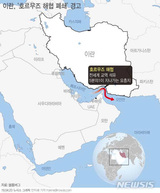 【서울=뉴시스】미국의 이란 원유 수입금지 제재와 관련, 이란 군부는 국제 원유의 주요 수송로인 호르무즈 해협을 폐쇄하겠다고 경고했다. (그래픽=안지혜 기자) hokma@newsis.com