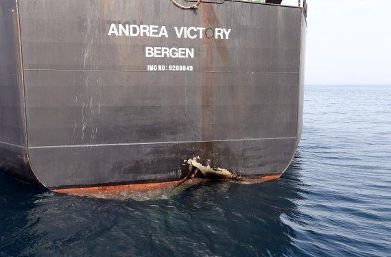 A damaged Andrea Victory ship is seen off the Port of Fujairah, United Arab Emirates, May 13, 2019. REUTERS/Satish Kumar <All rights reserved by Yonhap News Agency>