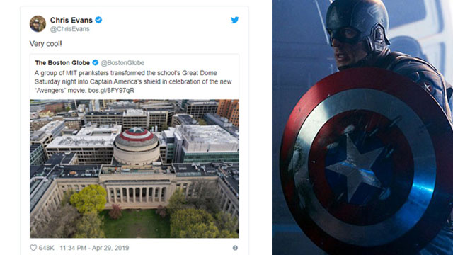 MIT 학생들의 장난에 대한 크리스 에번스의 트윗(좌)과 캡틴 아메리카(우)