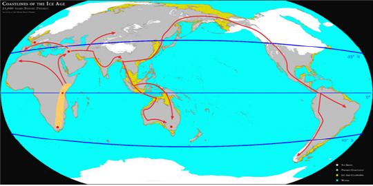 빙기 때 해안선과 슬기 사람의 주 이동 경로(20만∼5만 년 전).