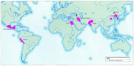 인류 최초 4대 독립 문명에 고조선 문명(그림의 A 부분)을 첨가했다. B는 수메르 문명 지역.