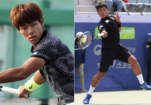 이덕희 선수(왼쪽)와 정윤성 선수(오른쪽) / 연합뉴스·대한테니스협회