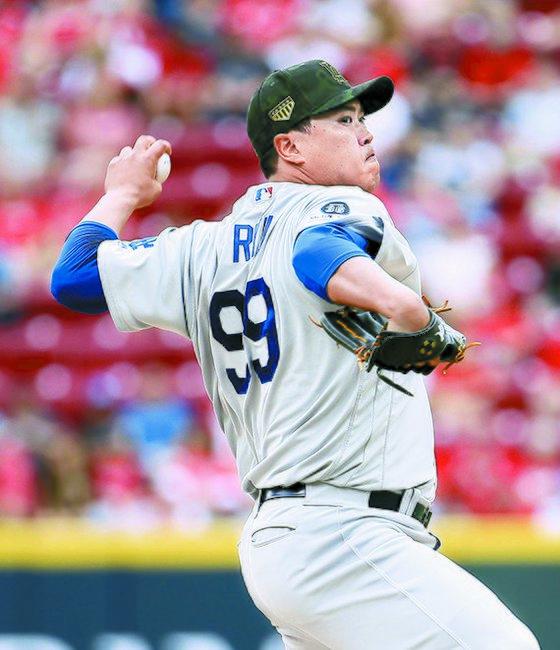 LA 다저스 류현진이 20일 신시내티전에서 7이닝 무실점으로 시즌 6승째를 거뒀다. 올 시즌 원정 경기 첫 승리다. [AFP=연합뉴스]