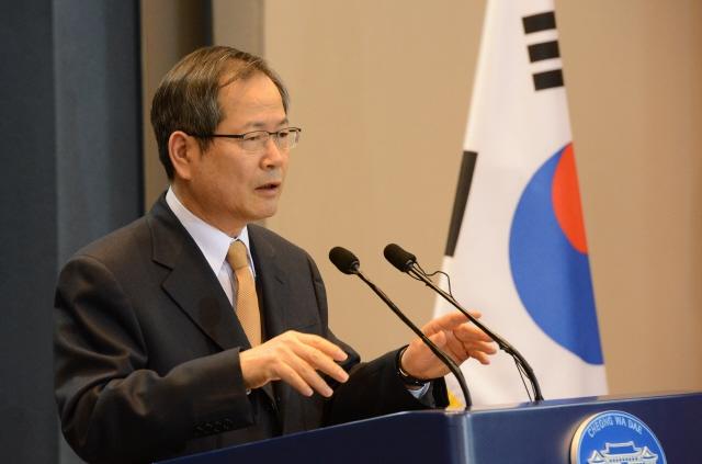 천영우 전 대통령비서실 외교안보수석. 청와대사진기자단