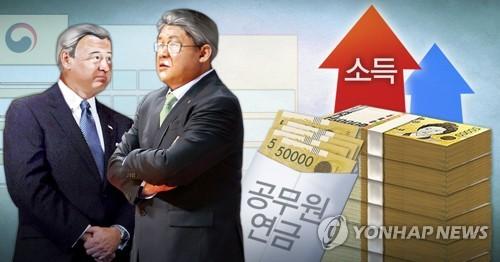'억대 소득 올리고 연금 받는' 은퇴 공무원 (PG) [정연주 제작] 사진합성·일러스트