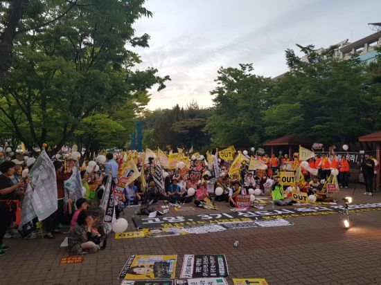 지난달 25일 오후 경기 고양시 일산동구청 앞에서 3기 신도시 철회를 촉구하는 일산·운정신도시 연합회 소속 주민 등이 집회를 열고 있다. 뉴시스