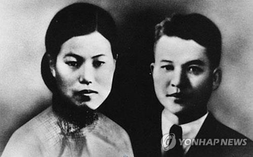 박차정 의열단원(왼쪽)과 의열단장 김원봉 결혼사진 [국립여성사전시관 제공]