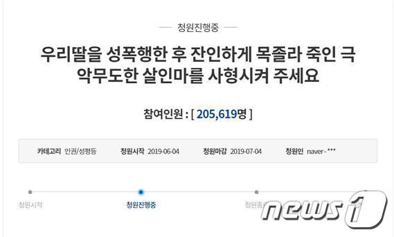 '순천 강간살인사건 피의자 사형' 靑 청원 20만 돌파(종합)[하이 원숙박 티티카카 토토]