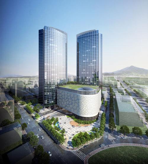 내년 3월 개장을 목표로 제주시 노형동에 들어서는 제주드림타워 조감도. 국내 유일의 도심형 복합리조트로, 총 사업비 1조5000억원에 지상 38층·169m 높이로 지어져 제주에서 가장 높다. 롯데관광개발 제공