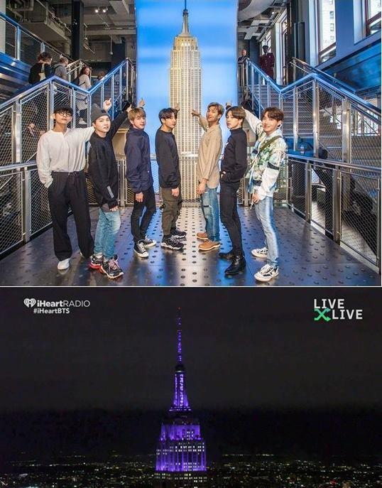 ▲ 미국 뉴욕 엠파이어스테이트 빌딩이 방탄소년단의 방문을 기념해 보라색으로 변신했다. 출처l엠파이어스테이트 빌딩 공식 SNS(위), 미국 '아이 헐트 라디오 라이브 쇼' 공식 SNS
