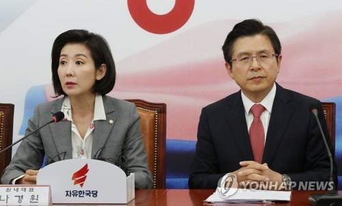 자유한국당 황교안 대표(오른쪽)와 나경원 원내대표(왼쪽) [연합뉴스 자료사진]
