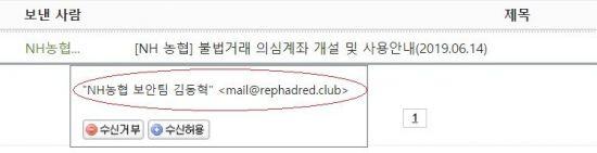 스피어피싱 메일을 보내온 자칭 농협 보안팀(?) 직원. 빨간 원 안에 있는 메일 주소부터가 이상하다.