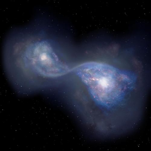 130억 광년 떨어진 곳에서 합체 중인 은하 B14-65666 상상도 [일본국립천문대 제공]