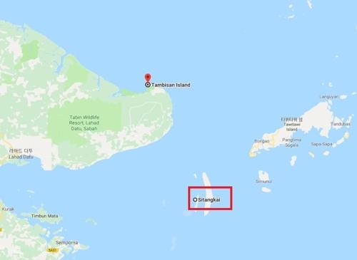 말레이시아 탐비산 해역과 필리핀 시탕카이섬 [구글맵]