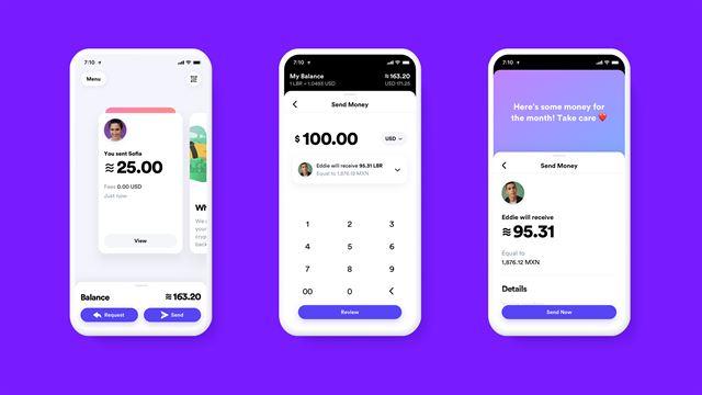 페이스북의 암호화폐 '리브라'를 활용한 개인 간 송금 서비스 예시. 페이스북 메신저 등을 활용해 은행을 거치지 않고도 원하는 액수의 돈을 자유롭게 보낼 수 있다. 페이스북 제공