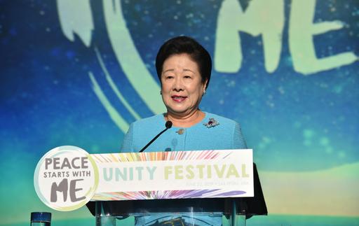 세계평화통일가정연합 한학자 총재(사진)가 22일(현지시간) 미국 라스베이거스 MGM그랜드 호텔 컨벤션센터에서 열린 희망전진대회에서 인류 평화를 위해 창조주 하나님을 바로 알아야 한다고 역설하고 있다. 세계평화통일가정연합 제공
