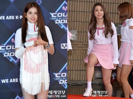 전소미(왼쪽)와 우주소녀 유연정. 한윤종 기자