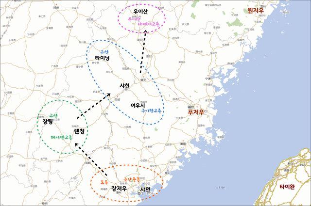 푸젠성 고촌 여행 동선.