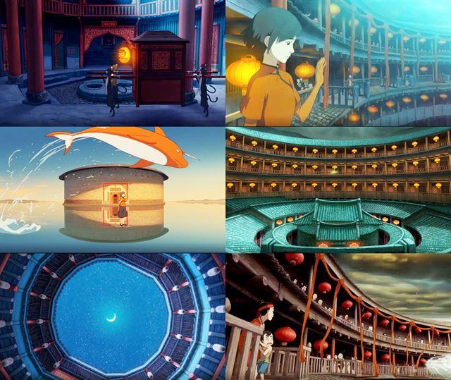 토루를 배경으로 한 애니메이션 '나의 붉은 고래'의 장면.