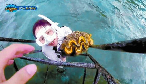 배우 이열음이 태국 남부 꼬묵섬에서 SBS '정글의 법칙' 촬영 도중 멸종 위기종인 대왕조개를 채취한 뒤 수면위로 올라오고 있다. [사진 SBS 캡처]