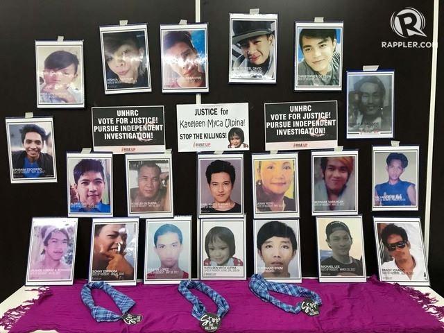 로드리고 두테르테 필리핀 대통령이 역점 추진하고 있는 '마약과의 전쟁'에서 희생 당한 필리핀 국민들. 인권단체들은 국제사회 차원의 진상 조사를 요구하며 유엔인권이사회를 상대로 로비전을 펼치고 있다. 래플러 캡처