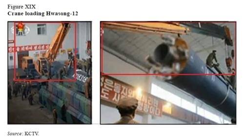 (서울=연합뉴스) 유엔 대북제재위원회 전문가 패널은 조선중앙TV가 2017년 5월 14일 방영한 화성-12 미사일 장착 장면 속 기중기를 일본 회사가 생산했을 가능성이 크다고 지적했다. 사진은 2018년 패널 보고서.