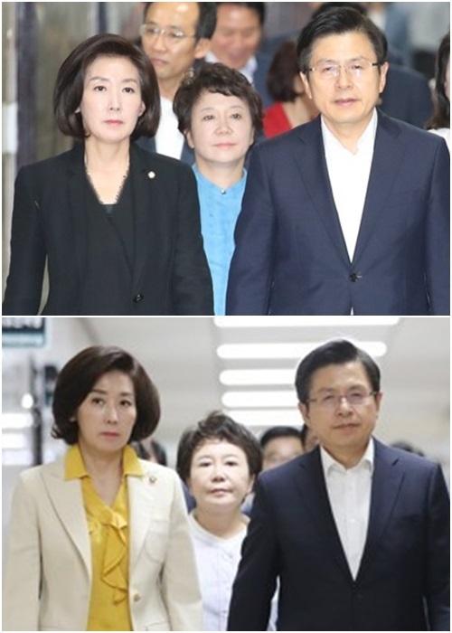 (왼쪽부터) 자유한국당 나경원 원내대표, 정미경 최고위원, 황교안 대표. 연합뉴스