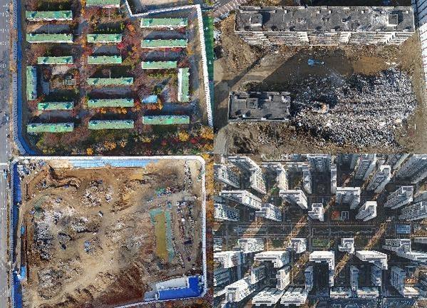 각각 철거 작업과 공사를 진행 중인 강남 재건축 아파트 단지들을 내려다본 모습 /오종찬 기자