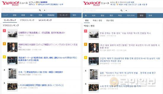 '야후 재팬'의 조회수 랭킹. 오른쪽이 한국어로 번역된 사이트 모습. 조선일보 일본판 칼럼 '한국은 워싱턴 말고 일본으로 사람을 보내라'가 17일 랭킹 2위를 차지하고 있다.