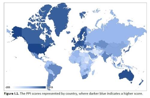 (서울=연합뉴스) 미국의 비영리 연구기관인 과학국제안보연구소(ISIS)가 지난 5월 23일 세계 200개 국가의 전략물자 무역관리제도를 평가해 순위를 매긴 '위험 행상 지수'(PPI:Peddling Peril Index)에서 한국이 17위, 일본이 36위를 기록했다. 사진은 지수를 색상으로 표현한 것으로 짙은 파란색일 수록 전략물자관리가 잘 되는 국가다. [ISIS 보고서 캡처]