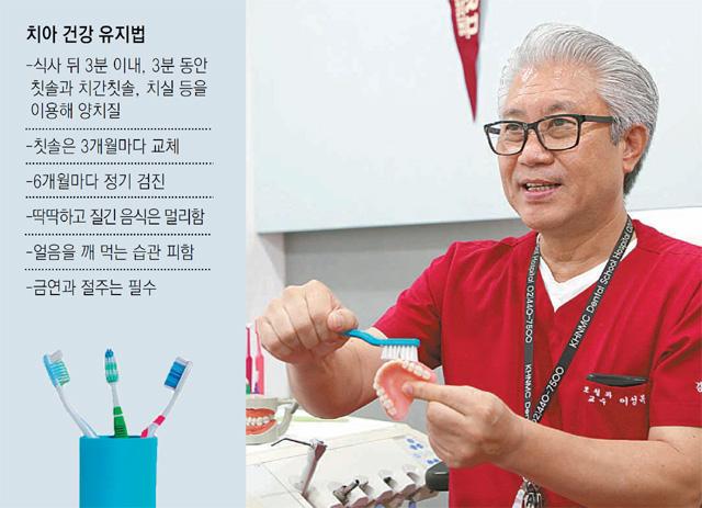 16일 강동경희대치과병원 치아리모델링센터장 이성복 교수가 치아 모형을 들고 올바른 칫솔질을 알려주고 있다. 강동경희대병원 제공